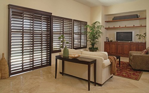 shutters in contemporary family room