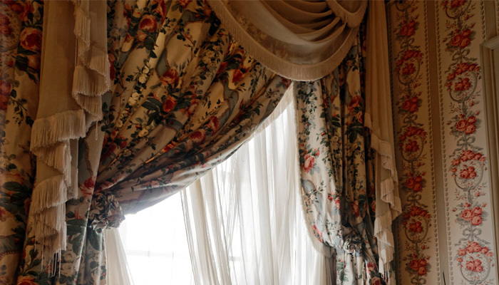 Multi-coloured floral drapes