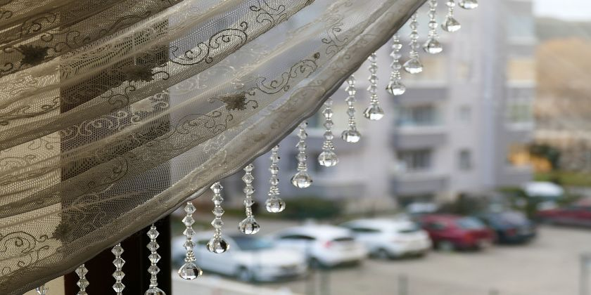 Glass beaded curtains