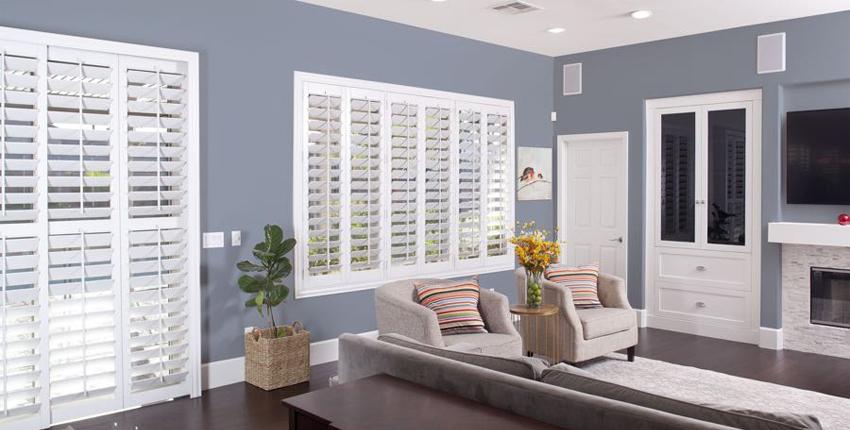 White faux wood shutters
